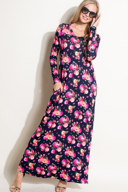 FLORAL JERSEY SIDE POCKET MAXI DRESS - orangeshine.com