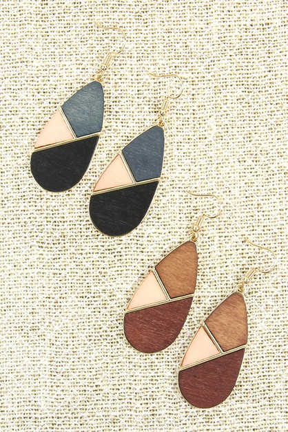 COLORED POLYGON TEARDROP EARRINGS - orangeshine.com