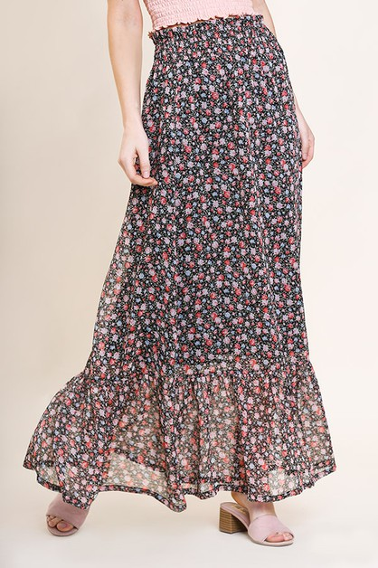 Floral Sheer High Waist Maxi Skirt - orangeshine.com