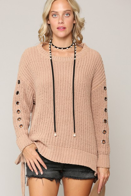 SUPER SOFT LOOSE FIT LACE UP SWEATER - orangeshine.com