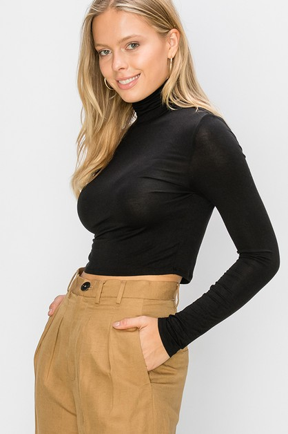 HIGH NECK LONG SLEEVE CROP TOP - orangeshine.com