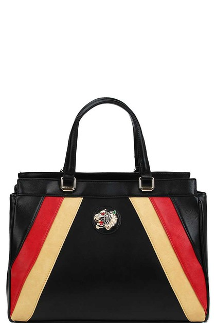 TIGER EMBLEM MODERN STRIPED SATCHEL - orangeshine.com