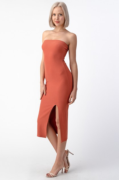 FRONT SLIT STRETCH TWILL TUBE DRESS - orangeshine.com