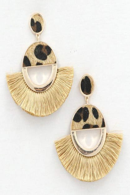 ANIMAL PRINT WITH TASSEL EARRINGS - orangeshine.com