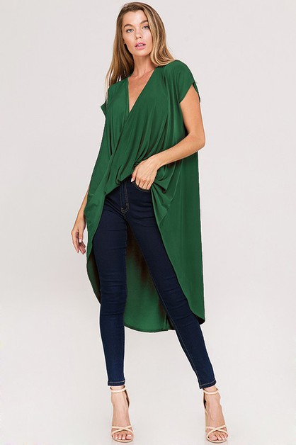 Casual Jersey Draped Wrap High Low T - orangeshine.com