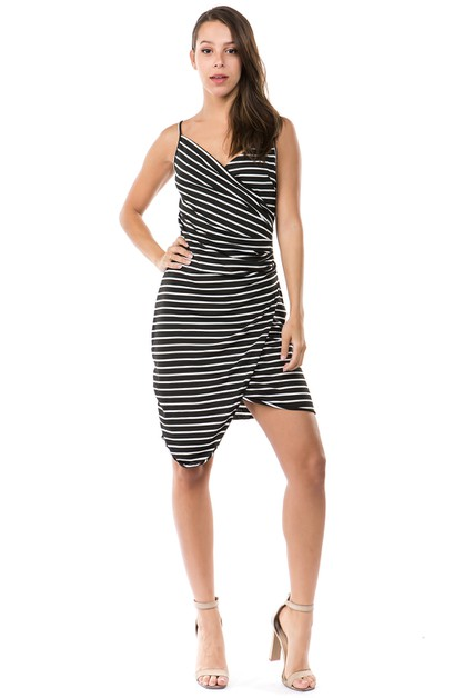 sleeveless stripes elastic dress - orangeshine.com