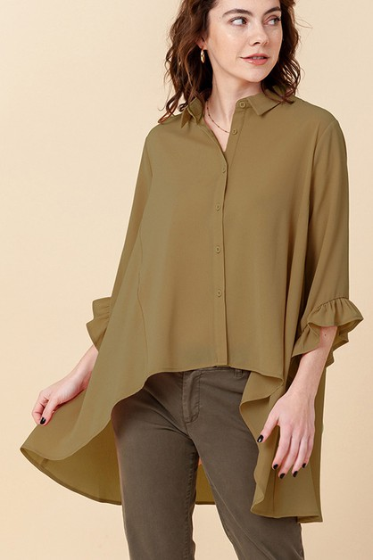 HIGH LOW BUTTON UP TOP WITH RUFFLE - orangeshine.com