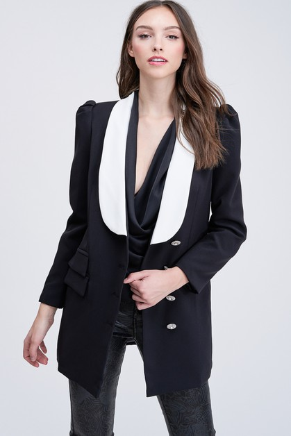 BUBYS CRYSTAL BUTTON TWO TONE BLAZER - orangeshine.com