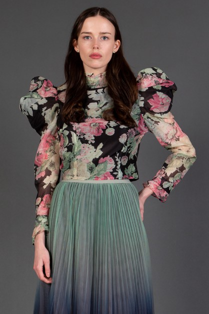 Floral Blouse with Puff Sleeves - orangeshine.com