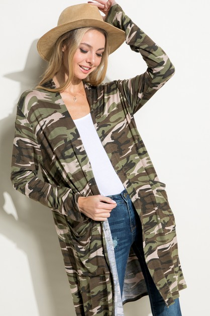 CAMOFLAGE LONG SL SIDE PKT CARDIGAN - orangeshine.com
