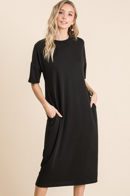 CASUAL SOLID MIDI DRESS - orangeshine.com