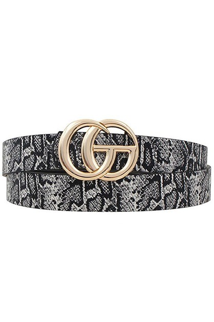 Faux leather snake print belt - orangeshine.com