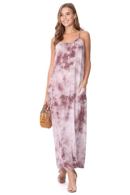 TIE DYE FRONT POCKET  CAMI DRESS - orangeshine.com