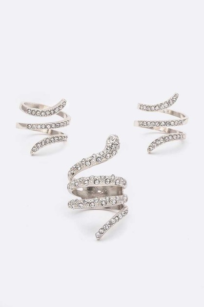 Adjustable Crystal Snake Ring Set - orangeshine.com