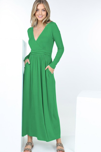 Long Sleeve V Neck Maxi Dress W Pock - orangeshine.com