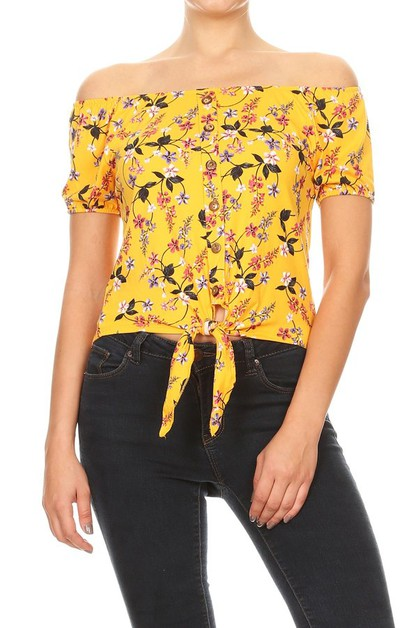 Yellow Floral Boho Tops Tee Shirts - orangeshine.com