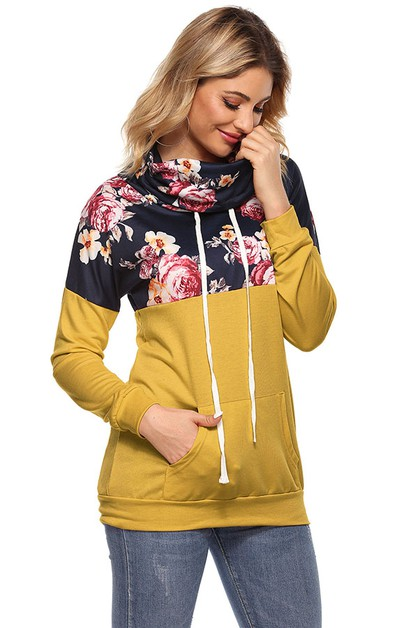 Mock Neck Floral Pocket Pullover Top - orangeshine.com