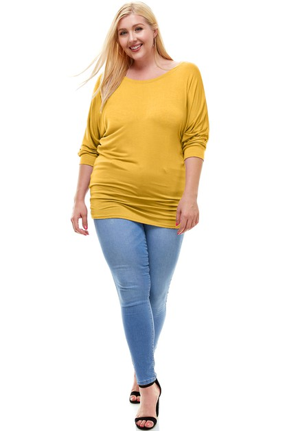 Mid Sleeve Dolman Tunic Top PLUS - orangeshine.com