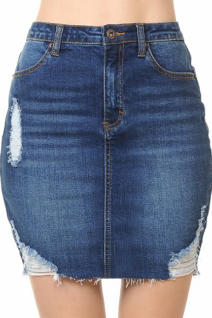 HIGH WAIST DENIM SKIRT WITH RAW EDGE - orangeshine.com