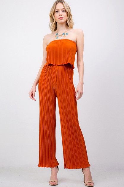 SOLID PLEATED ROMPER - orangeshine.com
