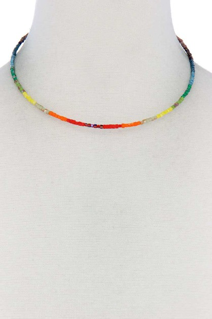 MULTI COLOR BEADED NECKLACE - orangeshine.com