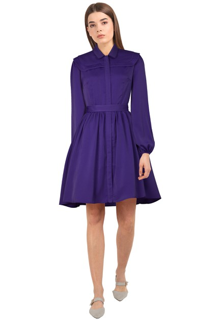 Plus Size Purple Long Sleeve Dress - orangeshine.com