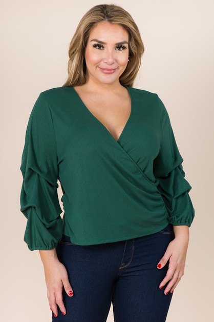 PLUS SIZE DRAPING SLEEVE FAUX WRAP K - orangeshine.com