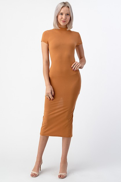 MOCK MIDI LENGTH SHORT SLEEVE DRESS  - orangeshine.com
