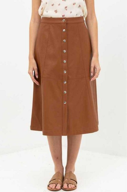 LONG LEATHER SKIRT - orangeshine.com
