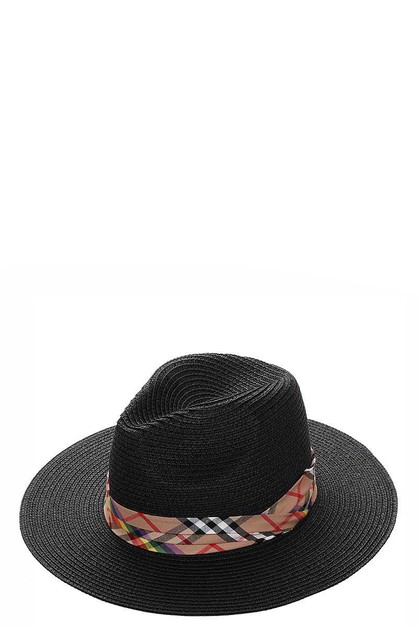 TRENDY CHECK ACCENT STRAW PANAMA HAT - orangeshine.com