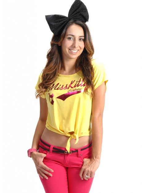 MISS KITTY COUTURE FRONT TIE TEE - orangeshine.com