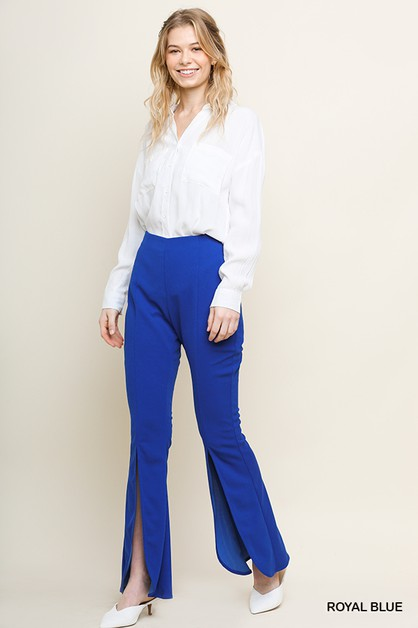 High Waist Wide Split Leg Pant - orangeshine.com