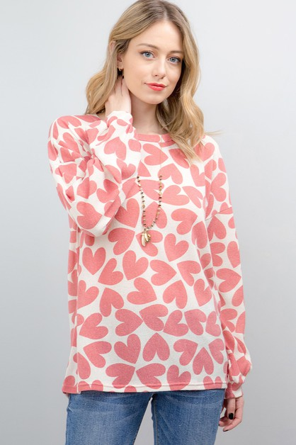 HEART PRINT PUFF SLEEVE TOP - orangeshine.com