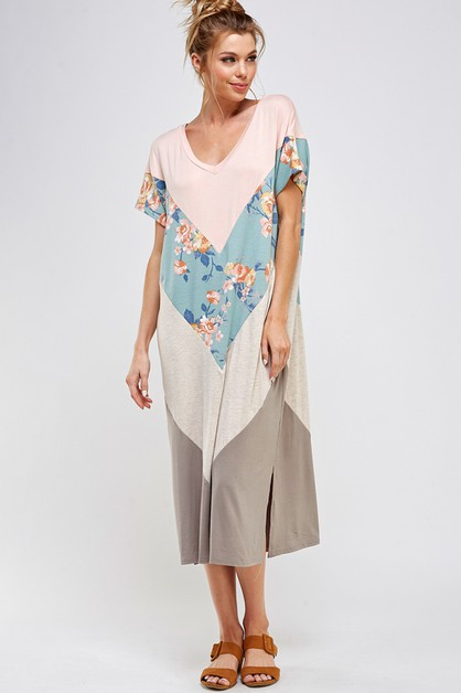 FLORAL AND COLOR BLOCK LONG DRESS - orangeshine.com