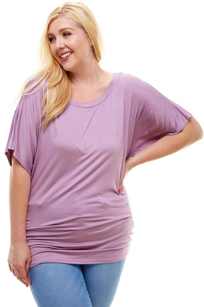 Short Sleeve Dolman Tunic Top PLUS  - orangeshine.com