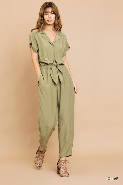 Button Front Collared Pant Jumpsuit  - orangeshine.com