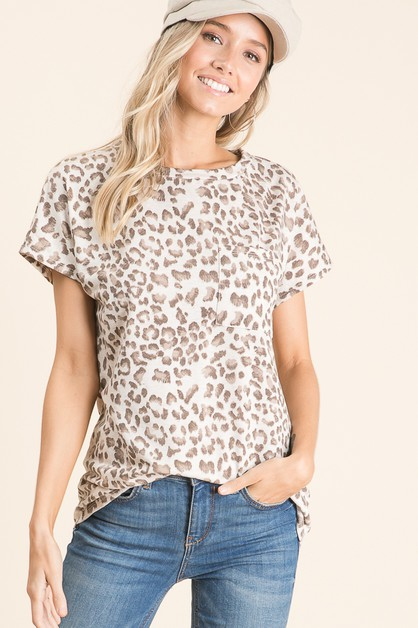 ANIMAL PRINT CHEST POCKET TOP - orangeshine.com