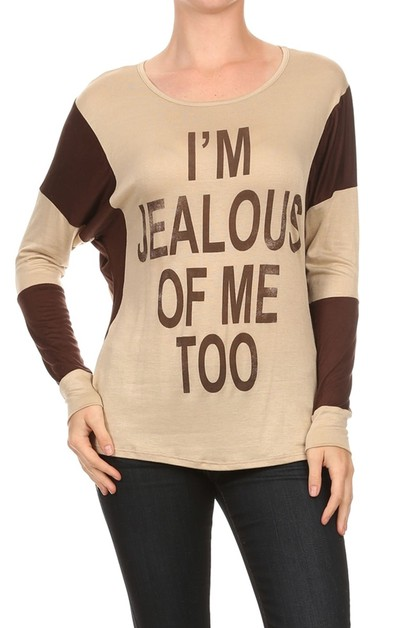 JEALOUS PRINT CASUAL LONG SLEEVE TOP - orangeshine.com