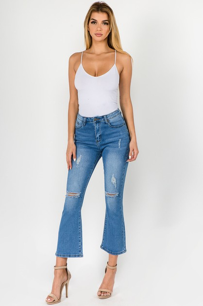 DENIM HIGH WAIST BOOTCUT JEANS - orangeshine.com