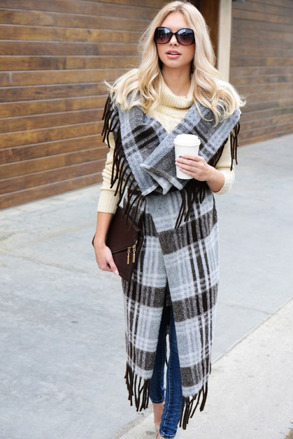 PLAID FRINGE EDGE CAPE COAT  - orangeshine.com