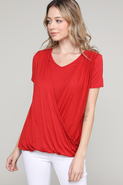 CROSS DRAPED V-NECK TOP - orangeshine.com