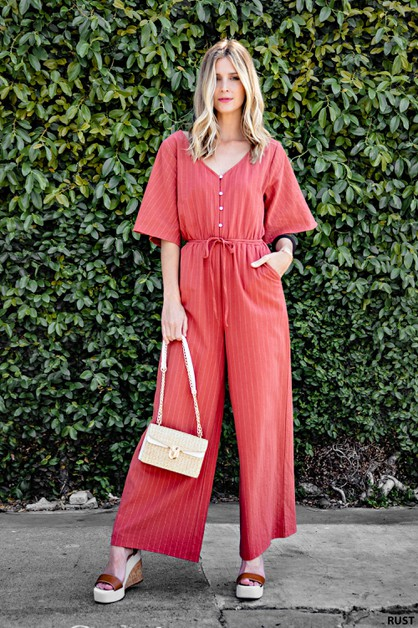 FRONT BUTTON CLOSER STRIPED JUMPSUIT - orangeshine.com