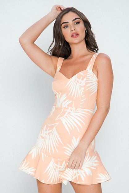 PRINTED MINI DRESS W SWEETHEART NECK - orangeshine.com