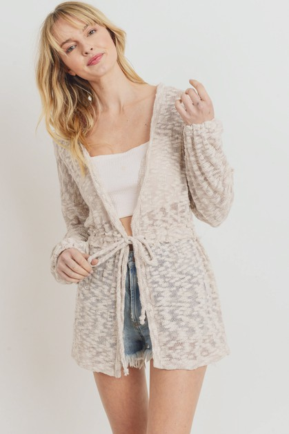 Textured  Knit Long Sleeve Cardigan - orangeshine.com