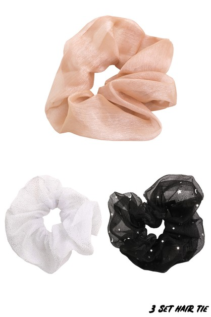 3 Piece Sheer Hair Scrunchies Set - orangeshine.com
