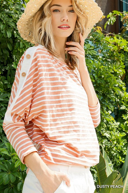 Striped  Shoulder Button Top  - orangeshine.com