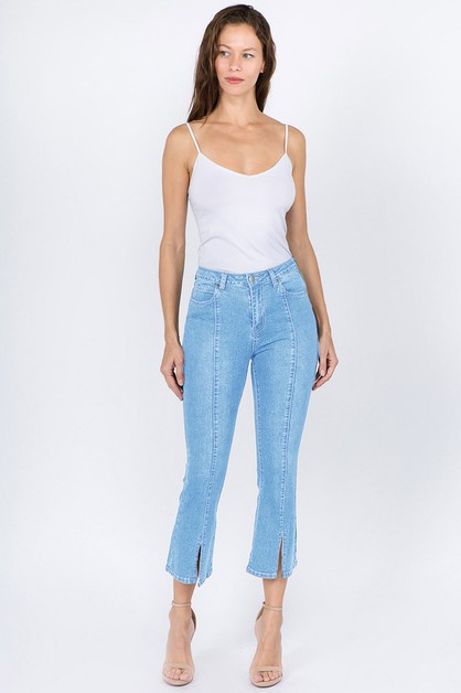 CROPPED DENIM JEANS WITH FRONT SLIT - orangeshine.com