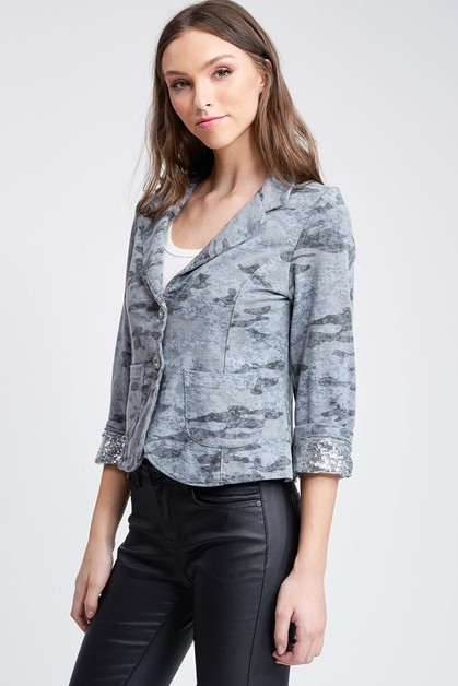 COLLAR AND SLEEVE SEQUIN BLAZER - orangeshine.com