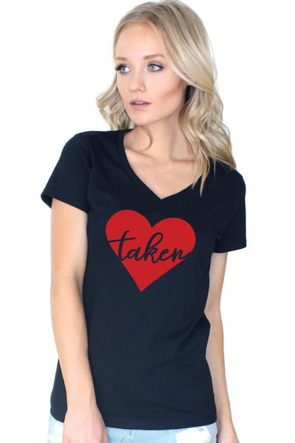 Taken Printed V Neck Tee - orangeshine.com