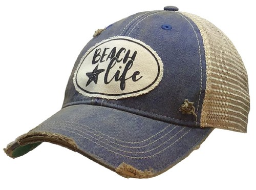 Beach Life Distressed Trucker Cap - orangeshine.com
